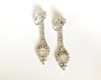 Vintage Earrings   Long Drop White Rhinestone Earrings   Formal Bridal Costume Jewelry   Art Decor, Hollywood Regency Jewelry
