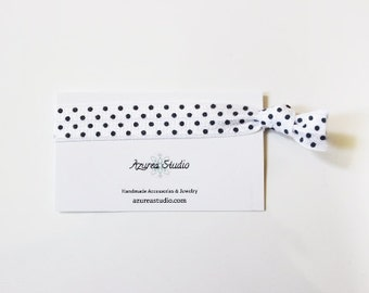 White Black Polka Dots Hair Tie