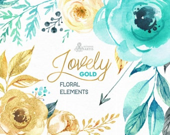 Lovely Flowers Gold. Separate floral Elements. Watercolor Clipart, mint, peony, leaves, arrows, diy, valentines, wedding, boho, turquoise