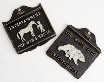 Vintage Metal Trivets or Wall Hangings / Wall Plaques, White Horse and White Bear, Made in USA