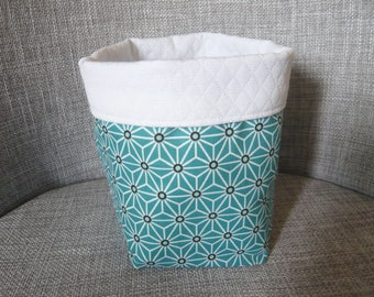 storage basket, Peacock green/blue and white blossoms