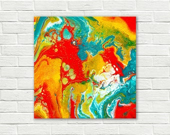 Original abstract painting on canvas, square painting, original painting, small painting, Abstract Wall Art, fluid painting, colorful art