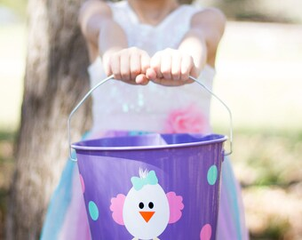 Easter Bucket- Personalized Easter Bucket- Easter Basket- Personalized Easter Basket- Easter- Custom Easter Pail- Easter Chick- White Chick