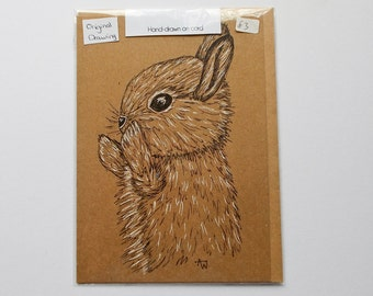 Cute happy Spring Bunny ORIGINAL drawing on recycled paper card
