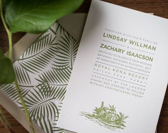 Modern Tropical Letterpress Wedding Invitation Suite