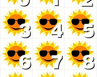 Sunshine - Numbers 0-31 Pocket Chart Cards - CALENDAR- Perfect for Preschool - Kindergarten - homeschool - Instant Download
