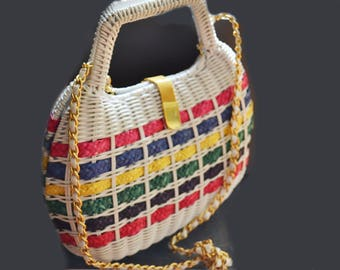 Vintage straw wicker purse  multicolor  Rainbow straw bag with goldtone chain