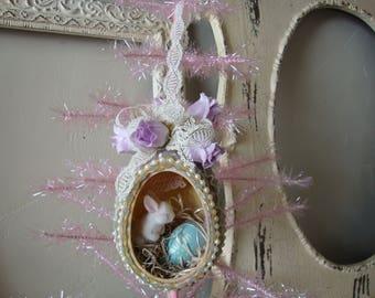 Vintage Easter Egg diorama ornament Easter home decor embellished ornament