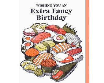 Extra Fancy Sushi Birthday Letterpress Card