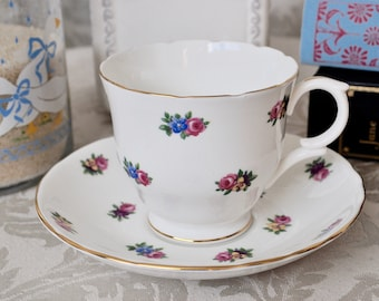 Crown Staffordshire Floral Teacup and Saucer Fine Bone China England 'CRS42'