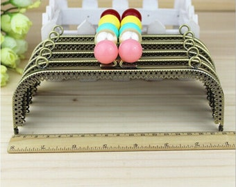 1 PCS, 18cm Squared Kiss Clasp Lock Purse Frame Closure with Solid Beads