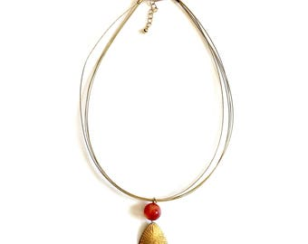 Orange Agate and Brass Triangle Necklace