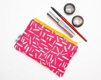 Pink Makeup Bag, Small Zipper Pouch, Small Zipper Bag, Travel Makeup Bag, Purse Organizer Insert, Zip Pouch, Best Friend Gift for Her