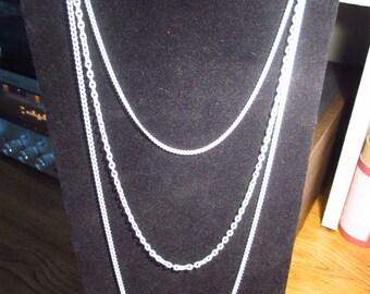 Vintage Multi Chain White Enamel Necklace Groovy 1960s