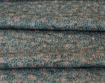 Delicate Details on Dark Green // Japanese Kimono Fabric