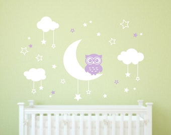 Nursery Wall Decals  Owl Wall Decal   Kids Room Decal   Moon And Stars Decal