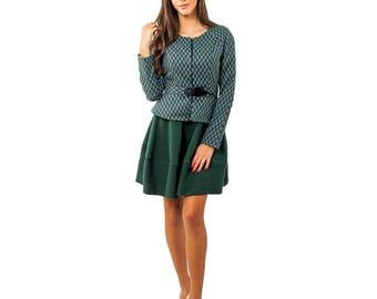 Green womens blazer, women jacket, Stylish jacket, Lightweight Jacket, Modern jackets women, Jacquard blazer, Fitted jacket, Jacquard Belt