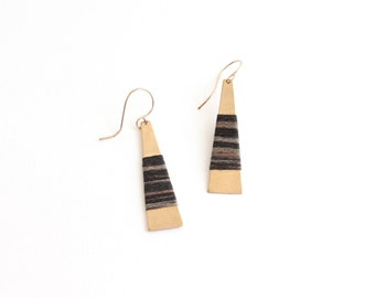 ASH Wrapped Earrings | elongated brass triangles with hand wrapped fibre detail