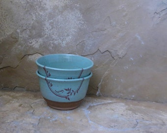 Bowls Set of 2 - Handmade Stoneware Pottery Ceramic - Turquoise Blue - Vines and Bird - 1-3/4 cups