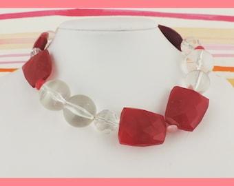 Asymmetrical Fushia Chalcedony, Quartz, and Crystal Necklace