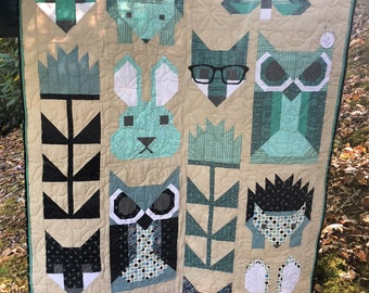 Baby Quilt, Toddler Quilt, Foxes, Owls, Firefly, Rabbit, and Hedgehogs.  Aquas and Blues; size 35 inches by 46.5 inches