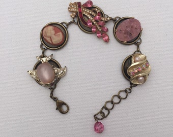 Pink Goldtone Vintage Earring Bracelet