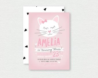 Kitty Cat Birthday Invitation - First Birthday Invitation, Kitten, Girl Birthday Invitation
