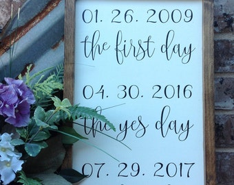 """Important Dates Sign, Wedding Date Sign, Best Day, Yes Day, Wedding Sign, Personalized Dates, Custom Wedding Sign, Measures 12"""" x 20"""""""