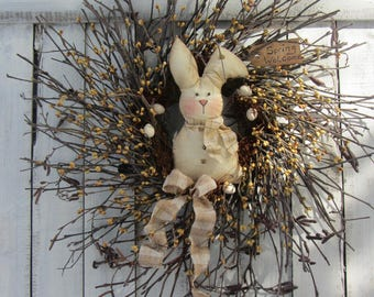Twig Easter Wreath - Berry Wreath - Bunny Wreath - Spring Wreath - Spring Easter Decor - Rabbit Wreath - Easter Bunny Wreath - Door Wreath