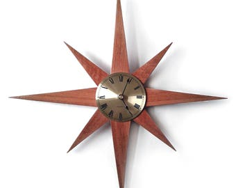 Mid Century Starburst Clock, Handmade Mid Century Modern Home Decor, Minimalist Home Decor, Jarrah Wood Star Clock, Atomic Star Burst Clock