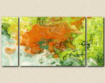 """Large triptych art stretched canvas print, 30x60 to 40x78, abstract expressionism in orange and green, from abstract painting """"Best Friends"""""""