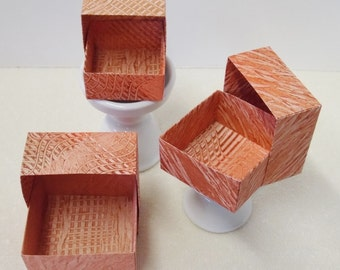 Origami Masu Paste Paper Nesting Boxes-Orange, Copper, & Brown