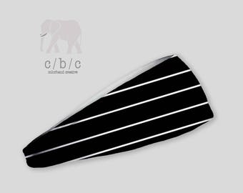 Black and White Striped Headband, Thin or Wide Headband, Non Slip Headband, Yoga Headband, Custom Headband, Adult Headband, Indie Headband