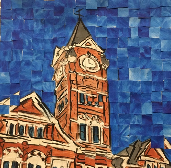 "Auburn University Samford Hall Architectural Art: 8""x8"" Original Painting"
