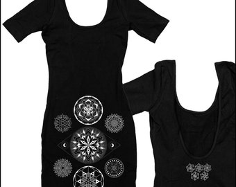 Mandala Mini Dress Black 7 Chakras Colab Design with Corey Divine Sacred Geometry