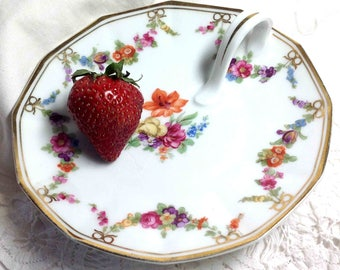 Trinket Dish, Dresser Dish, Candle Holder, China Tray Plate, Germany, Flowers Pink Yellow Purple Orange Lily, 5-1/2 in dia: Ships to US 8.86