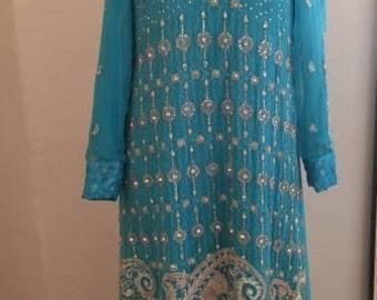 Turqoise Blue Anarkali Dress Indian Pakistani Bridal Formal