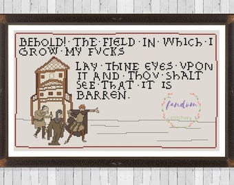 Field of Fucks Cross Stitch PDF Pattern | Medieval Meme Cross Stitch Pattern Behold the Field Cross Stitch | Bayeux Tapestry Cross Stitch