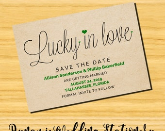 DIY Digital Printable Lucky in Love Handwritten Script Typography Modern Save the Date Announcement