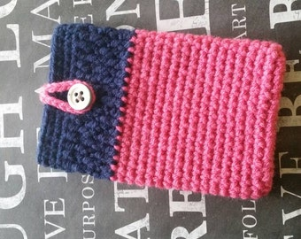 Cell phone case. Pink and Navy.  Handmade crocheted smartphone cozy. Stylish phone case. With unique button