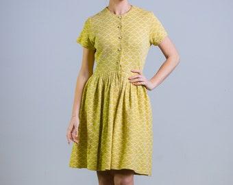 1950's 1960's Mermaid Scalloped Shirtwaist Day Dress