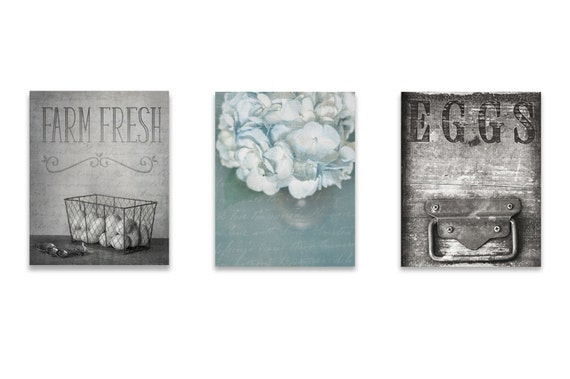 Dining Room Wall Art Farmhouse Decor SET Of THREE Prints Or Canvases Rustic Blue French Kitchen