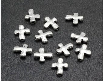 40 Cross Spacer Beads Rugged Hammered Design Small Silver Beading Bulk Jewelry Supplies 13x11mm Hole 1.75mm