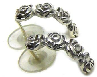 Flower Earrings, Roses, 925 Sterling Silver Earrings, BLOSSOM