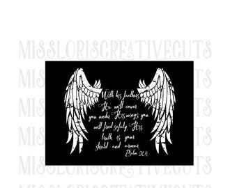 Psalm 91:4   He will over you with his Wings  SVG Cut file  Cricut  scripture  wood  signscripture svg, Christian svg