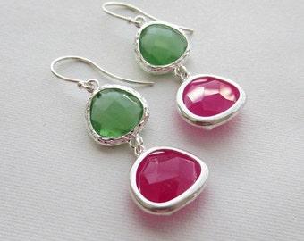 Peridot Green with Fuchsia Hot Pink Drop Earrings Bridesmaid Gift Wedding Earrings, Bridal Jewelry ,Green Dangle Earrings, Gift