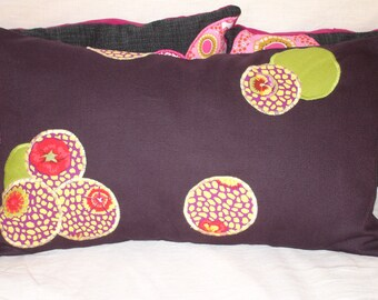 Purple patchwork pillow cover in purple, yellow and green fabric with the Japanese way