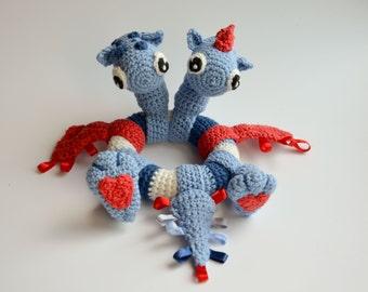 Crochet PATTERN - Two headed dragon - baby rattle by Krawka
