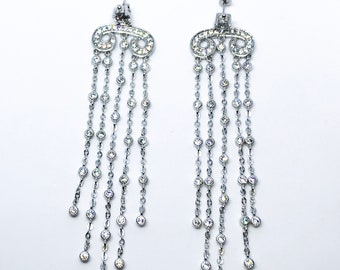 14k White Gold on Sterling Silver Long Dangling Chandelier Earrings