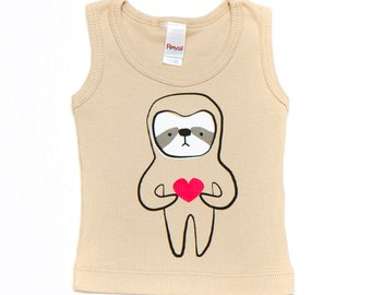 Champagne Sloth Love Baby Toddler Kid Tank 3-6m to 18-24m ON SALE
